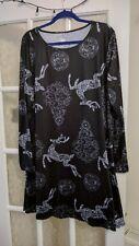 NEW ladies plus size 22/24 black reindeer christmas festive dress / tunic top