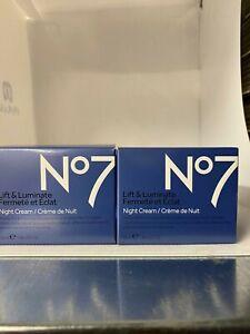 2x No7 Lift & Luminate Night Cream 2x50ml (100ml) Brand new Boxed