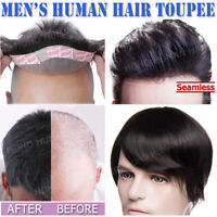 Natural Men's 100% Remy Quality Human Hair Toupee Toppiece Hairpiece Black Brown