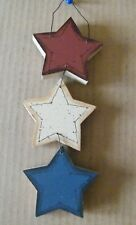 Patriotic thick Wood 3 Americana Stars Hanger primitive Sign Home Decor 10x3""
