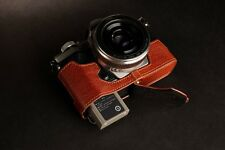 Genuine real Leather Half Camera Case bag for Olympus OM-D E-M5 II M2 Brown Open