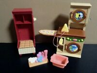 LOVING FAMILY WASHER DRYER DOLLHOUSE LAUNDRY ROOM FURNITURE FISHER PRICE