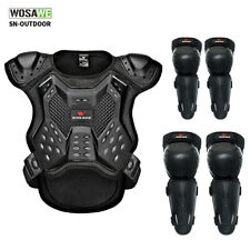 Youth Motorcycle Racing Body Armor Chest Guard Dirtbike Knee Elbow Pad Protector