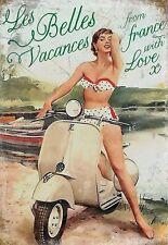 """Vespa Scooter, Italian Classic, """"Les Belles Vacances"""" Small Metal/Tin Sign"""