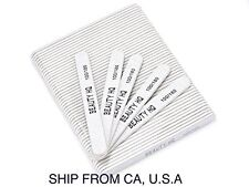 50 Pcs Professional Nail Files Grit 100/180, Coarse & Fine Zebra Round