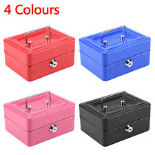 6 inch Small Key Lock Petty Cash / Piggy Bank Money Box Tin Safe Lockable
