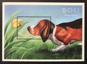 GRENADA DOGS STAMPS SOUVENIR SHEET 2000 MNH BASSET HOUND DOG BUTTERFLY PETS