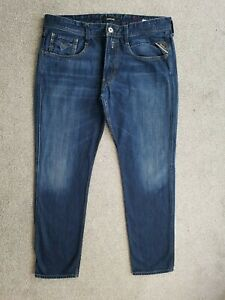 Mens Replay Anbass Slim Skinny Dark Blue Jeans Size W36 L32