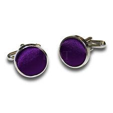 DQT Brass Fabric Inlay Cuff Links Plain Solid Purple Mens Cufflinks