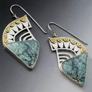 Unusual Ethnic Boho Dangle Earrings Green Stone UK Seller Boho Vintage Silver