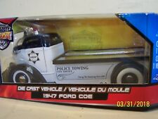 New 1947 Ford COE Car Hauler Jada Badge City Heat Police Towing Die Cast Truck