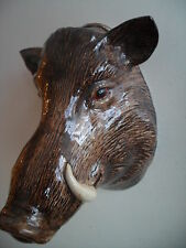 Fabulous Large Wild Boar Wall Vase/ Planter By Quail Pottery Boxed Hunting Gift