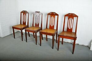 1910 Set of 4 French Art Nouveau Mahogany Dining Chairs W/ Cane Seats