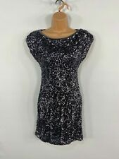 WOMEN TFNC LONDON SILVER GREY SEQUIN OPEN BACK EVENING PARTY BODYCON DRESS SMALL