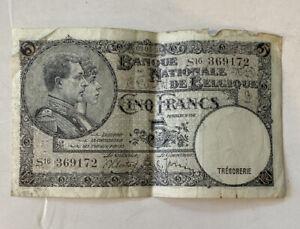 Belgium 5 Francs 1938, P-108