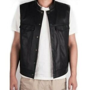 Retro Solid Fashion Mens Motorcycle Stand-Up Collar Leather Team Punk Vests