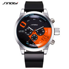 Mens Sport Chronograph Wrist Watches Luxury Brand Waterproof Rubber Band Watch