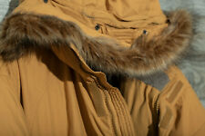 North Face Mens 1X expedition parka, burnt yellow/khaki w/ fur hoodie, down