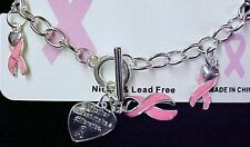 Pink Ribbon Breast Cancer Heart Toggle Link Silver Plated Bracelet Jewelry 7""