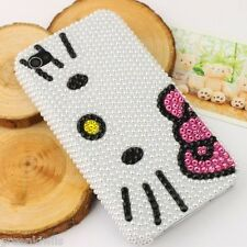 Slim 3D Bling Pearl Crystal iPhone 4 4S Hello Kitty Face Case for AT&T Verizon