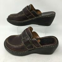 Born Slip On Clogs Mules Wedge Shoes Buckle Strap Leather W6635 Brown Womens 8