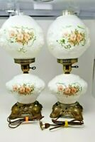 "Pair of Vintage Puffy Rose GWTW Hurricane Parlor Table Lamps 21"" Tall 3-way"