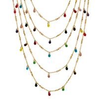 Multicolor Crystal Goldtone Metal Bead Waterfall Necklace