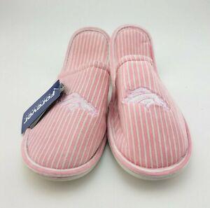 NFL Forever Collectibles Pink Striped Slippers Denver Broncos PINK Size 11-12