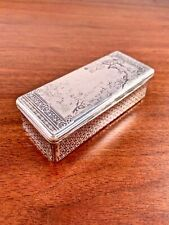 LARGE LEON BAVOJOIS FRENCH STERLING SILVER NIELLO SNUFF BOX: HUNTING SCENE 1877