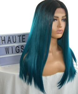 STRAIGHT TURQUOISE TEAL DARK SEA AQUA BLUE GREEN WIG LACE FRONT HUMAN HAIR BLEND