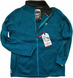 WOMENS BLUE Fleece Hiking Warm Anti Pill Cardigan Full Zip JACKET Jumper 10-20