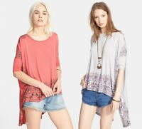 NWT Free People Women's Fashion Pick Up High Low Boxy Tee Top Blouse Shirt