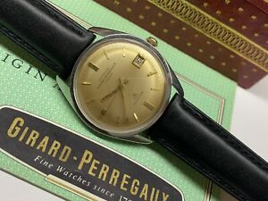 girard perregaux chronometer 39 jewels richeville date watch with box & papers