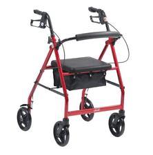Red 4 Wheel Lightweight Aluminium Folding Walker Rollator with Brakes
