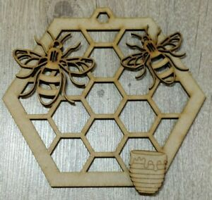 MDF Honeycomb with Bee's - Embellish, Paint, Colour, Glitter DIY