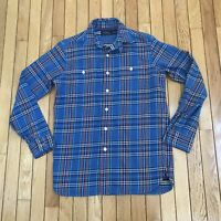 Polo Ralph Lauren Long Sleeve Blue Plaid Flannel Button Down Shirt Mens Size S