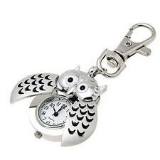 Mini Armbanduhr Metal Key Ring Uhr Owl Double Analog Open Quartz Watch Silber