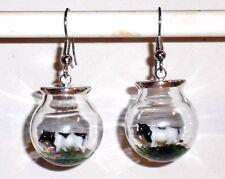 Ohrringe Kuh Tiere Damen Ohrschmuck Modeschmuck Glas handgefertigt Edelstahl