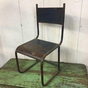 Antique Metal Childs Chair Blue Iron Farmhouse Unique Solid