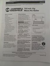 "Campbell Hausfeld Manual7/8"" Micro Pin Nailer CHN10500 Operating Instructions"