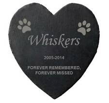 Personalised Heart Shape Engraved Natural Slate Pet Memorial Grave Marker spm2