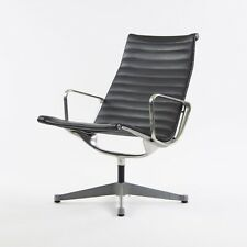 Museum Quality Eames Herman Miller Aluminum Group Lounge Chair Black Upholstery