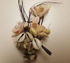 Seashell Vase With Seashell Flowers 6 Inch Curio/Table/Bookshelf Display