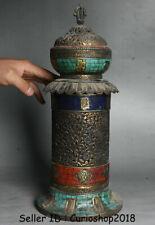 "15.6"" Antique Old Tibet Buddhism Temple Bronze turquoise Incense Burner Censer"