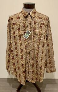 NEW NWT Reyn Spooner WESTERN ALOHA FLORAL Brass Snap Classic Long Sleeve MEDIUM