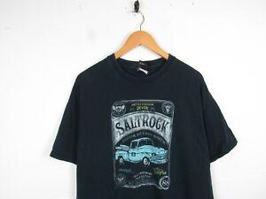Vintage Mens Saltrock Faded Black Devon Surfing Dad t-shirt Top Size XL