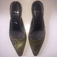 Gina Sparkle Glitter Gold Bronze Slippers Shoes Size 6.5 Mule Kitten Heels