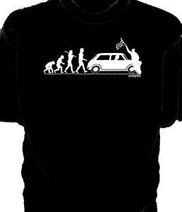 'Evolution of Man' Chequered flag t-shirt-  classic Mini Cooper