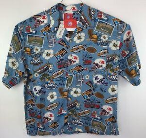 Super Bowl XXXVII San Diego Chargers NFL Mens Hawaiian Shirt Blue Floral XL New