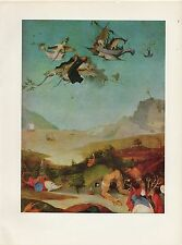 """1971 Vintage HIERONYMUS BOSCH """"TEMPTATIONS OF SAINT ANTHONY"""" #1 COLOR Lithograph"""